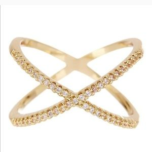 Gold Pave X Ring